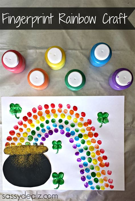 st s day craft fingerprint rainbow pot of gold craft for st s
