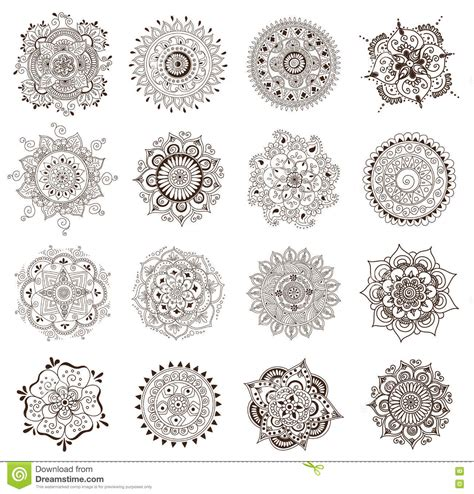 henna tattoo sets henna mandala set vector cartoondealer
