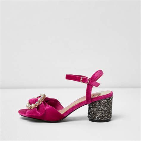 pink velvet glitter block heel sandals shoes boots