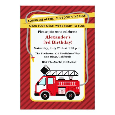 fire truck firefighter birthday party invitation zazzle