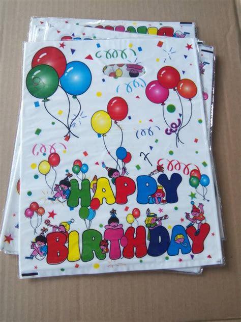 Plastik Kantong Bingkisan Ulang Tahun Birthday jual isi 10 tas plastik souvenir ulang tahun happy birthday hikmahpartyshop