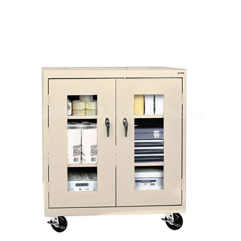 mobile counter height storage cabinet with see through doors
