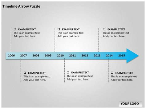 timeline template powerpoint free timeline arrow puzzle chart powerpoint templates and