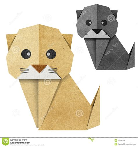 Cat Paper Craft - origami cat recycled papercraft stock illustration image