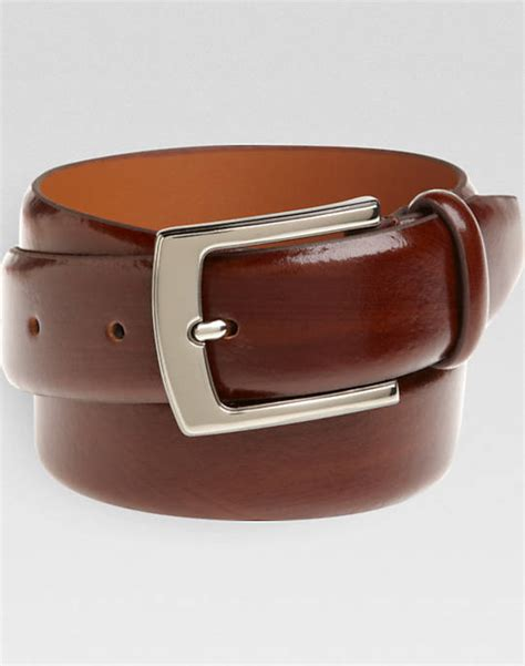 s wearhouse cognac brown leather belt with chrome