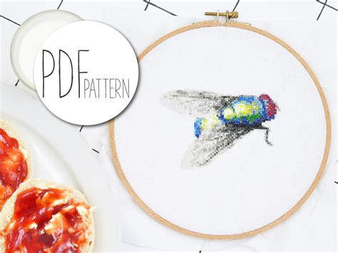 flight pattern of house flies modern cross stitch pattern house fly realistic insect hand