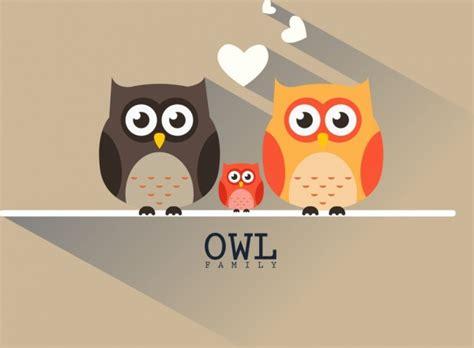 desain gambar owl eule familienhintergrund bunte flache bauweise schatten