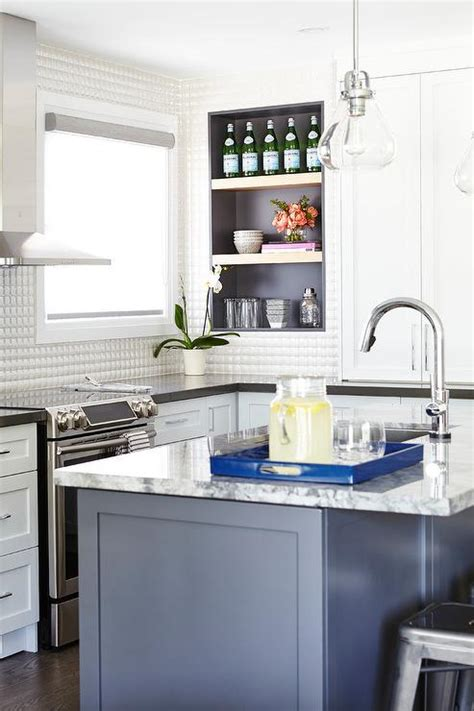 white prism kitchen backsplash tiles transitional kitchen