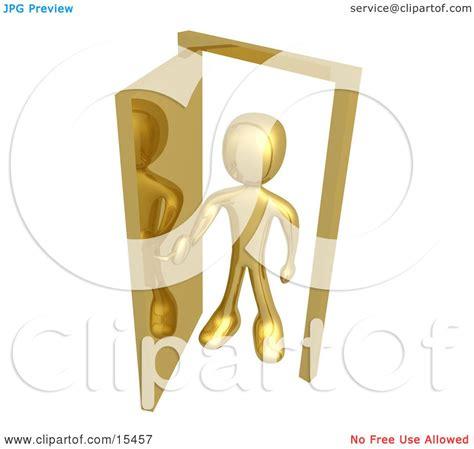 figure open or not gold figure standing in an open doorway uncertain of