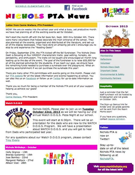 pta newsletter templates 64 best images about pta on newsletter