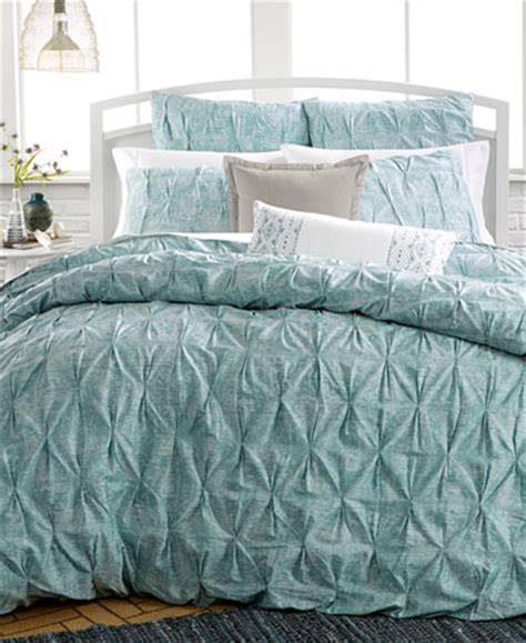 Macys Comforter Cover by Bar Iii Pleat Mineral Blue Duvet Cover