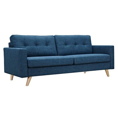 Uma Mid Century Modern Blue Fabric Button Tufted Sofa W Modern Blue Sofa