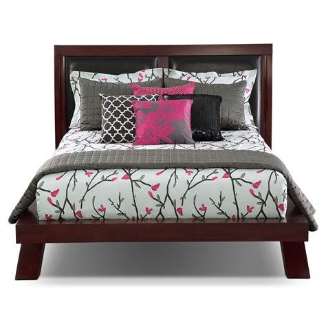 Chagne Bedroom Set by Jaden Upholstered Arch Bed Merlot American