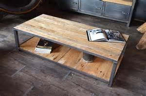 table basse bois de palette et acier style industriel