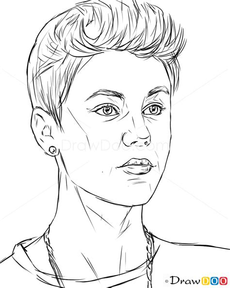 How to Draw Justin Bieber, Justin Bieber - How to Draw