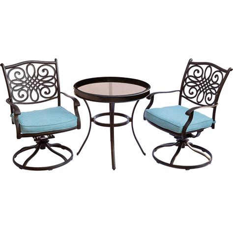 Aluminum Bistro Chairs Hanover Traditions 3 Aluminum Outdoor Bistro Set With Swivel Chairs With Blue Cushions
