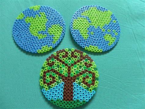 perler bead iron setting earth day going green globes hemispheres tree perler bead