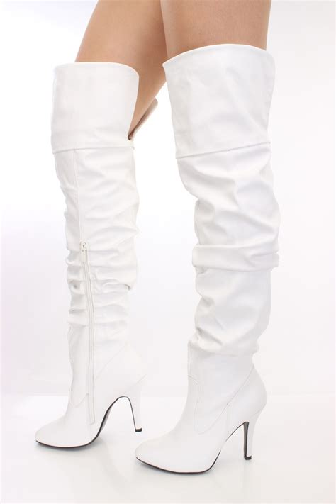 white boots thigh high white leather boots coltford boots