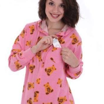 Pink Teddy Pajamas funzee onesuit non footed pajamas from i