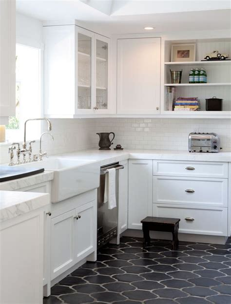 White Kitchen Floor Ideas Picture Of Black Moroccan Style Tiles For A Mid Century Modern Kitchen With White Cabinets