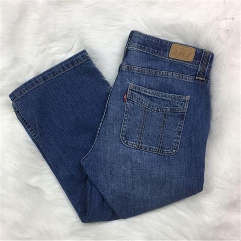 levi comfort waist jeans levi s levis womens comfort waist blue denim crops capri