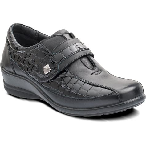 shoes velcro sanita black leather with patent croc velcro shoe