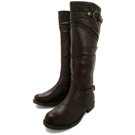 brown leather wide calf boots buy macie block heel knee high wide calf biker boots brown leather style