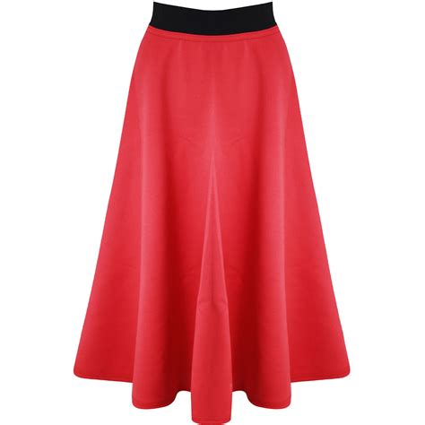 midi swing skirt new womens stretchy mid length scuba flared ladies skater