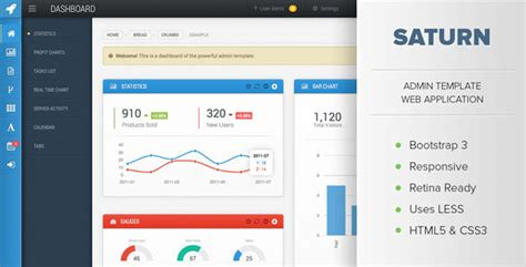Saturn Responsive Admin Dashboard Template By Osetin Themeforest Free Web Application Templates With Css