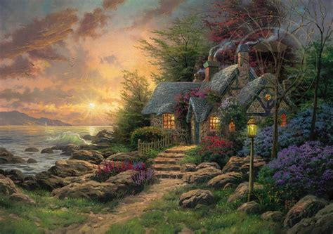 kinkade cottage painting seaside hideaway limited edition the