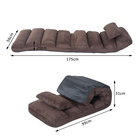 Homcom Folding Floor Sofa Bed W Pillow Brown Aosom Co Uk