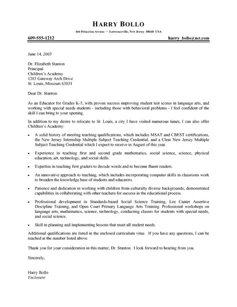 Exle Resume For Teachers Cover Letter by Elementary Cover Letter Sles Exles Of