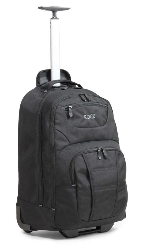 rock carbon 17 quot laptop backpack on wheels luggage city