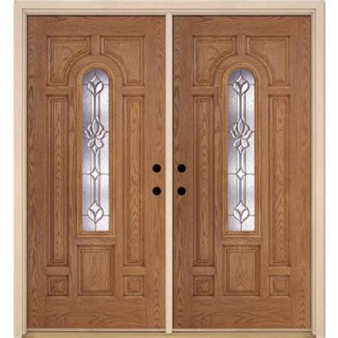 medina brass center arch lite stained light oak fiberglass