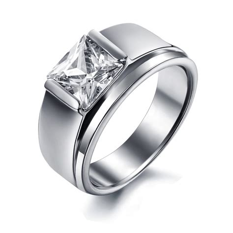 Women's Stainless Steel Engagement Promise Wedding Band