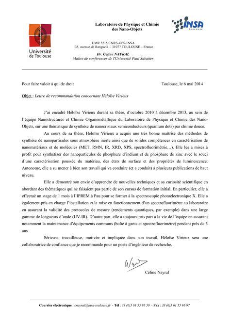 Lettre De Recommandation Responsable Modele Lettre De Recommandation Ingenieur Document
