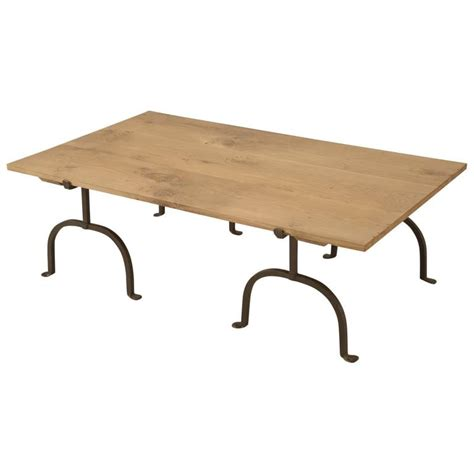 French Oak And Wrought Iron Coffee Table For Sale At 1stdibs Wrought Iron Coffee Tables For Sale