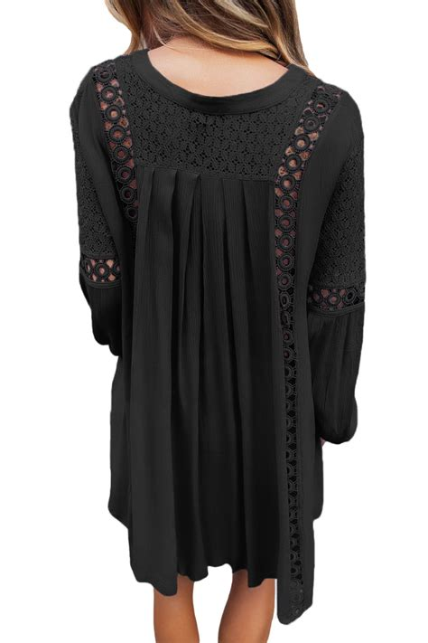 Lace Trim Sleeve Tunic trendy black crochet lace trim relaxed sleeve tunic