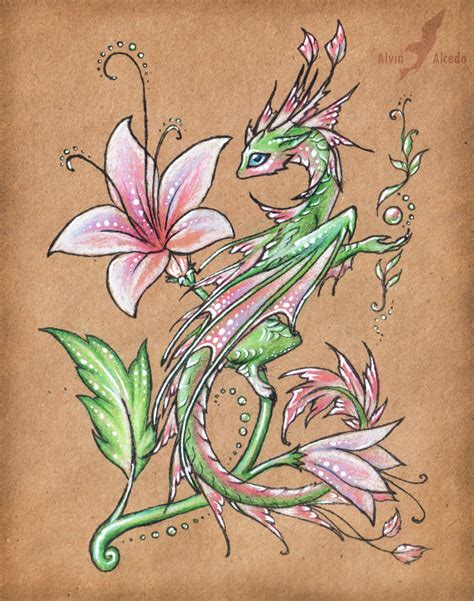 rose dragon tattoo flower by alviaalcedo on deviantart