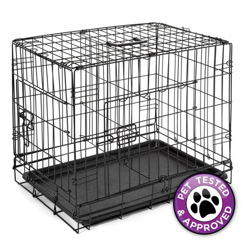 puppy crate divider 24 quot cage crate folding kennel with divider pet puppy pen abs tray pan ebay