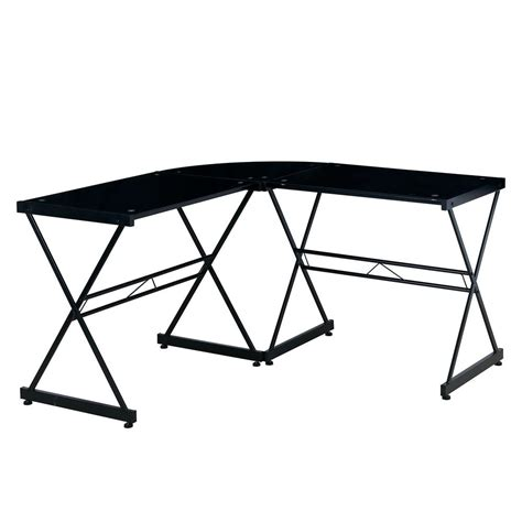 Black Glass L Shaped Desk Techni Mobili Black Glass L Shaped Computer Desk Rta 3805l Bk The Home Depot