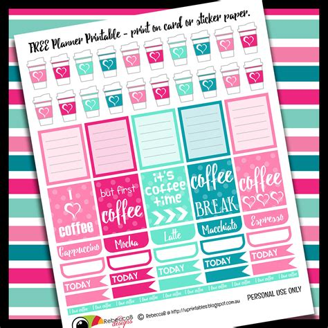printable free planner stickers rebeccab designs free printable planner stickers coffee