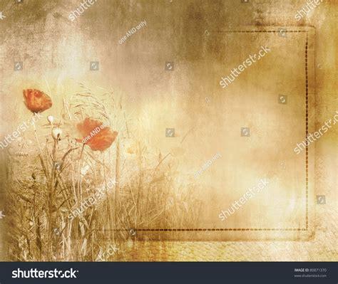 vintage poppy field background on stock illustration 80871370