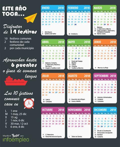 Calendario 2018 Con Festivos Infograf 237 A Calendario Laboral 2018