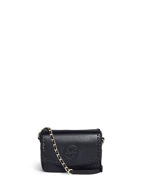 burch leather bag burch marion mini leather crossbody bag in black lyst