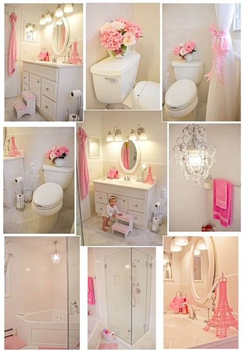 Pink and white girl s bathroom dream house girls room pinterest pink accents pink