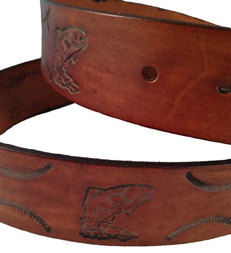 handmade mens leather belt 1 5 quot wide fish sted design