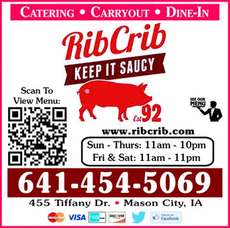 Rib Crib To Go Menu by Rib Crib Bbq Grill City Ia 50401 Yellowbook