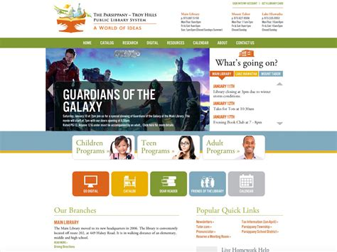 web layout library website design for parsippany library splendor design group