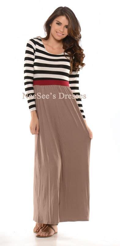 black white mocha maxi dress trendy modest clothing for